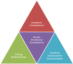 Triangle made up of four smaller triangles to represent the interconnected elements of psychosocial support.